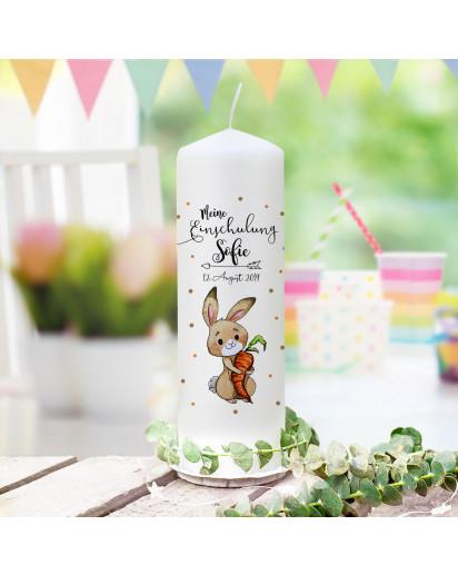 Einschulungskerze Kerze zum Schulanfang zur Einschulung Schulkind Motiv Hase Häschen mit Karotte Wunschname Datum wk170