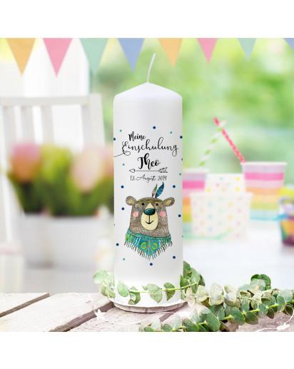 Einschulungskerze Kerze zum Schulanfang zur Einschulung Schulkind Motiv Boho Bär Bärchen Wunschname Datum wk171