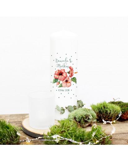 Hochzeitskerze Kerze zur Hochzeit Trauung Traukerze mit Hibiskus Blumen Punkten Wunschnamen & Datum wk53