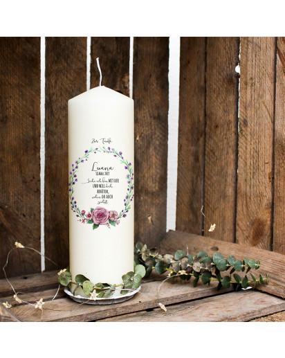 Taufkerze Kerze zur Taufe oder Geburt Kommunionkerze Blumenkranz Spruch Wunschname & Datum wk94