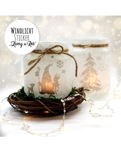 Feenlicht Feenwindlicht DIY Weihnachtsdeko Weihnachten Wichtel Rehe Winterwald Tanne Sterne Schneeflocken Lichtdeko Winter Aufkleber Glas Sticker wl3