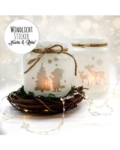 Feenlicht Feenwindlicht DIY Weihnachtsdeko Weihnachten Fuchs Weihnachtsbaum Rehe Sterne Schneeflocken Lichtdeko Winter Aufkleber Glas Sticker wl4