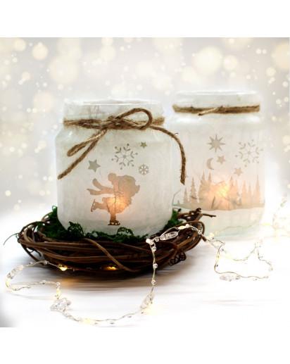 Feenlicht Feenwindlicht DIY Weihnachtsdeko Weihnachten Eisbär Schneekristalle Sterne Schneeflocken Lichtdeko Winter Aufkleber Glas Sticker wl5