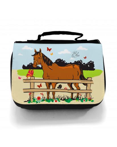 Waschtasche Kosmetiktasche Pferd auf Weide Wunschname toilet bag horse on willow desired name wt003