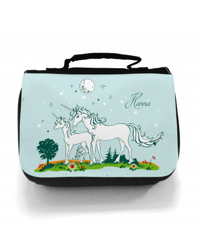 Waschtasche Kosmetiktasche Einhörner auf Weide bei Nacht Wunschname toilet bag unicorns on willow at night desired name wt005