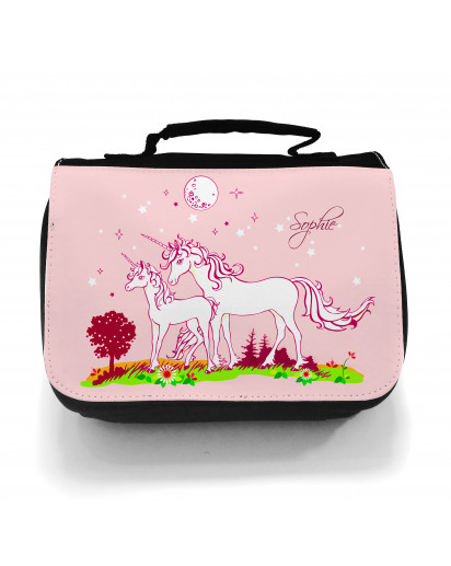 Waschtasche Kosmetiktasche Einhörner auf Weide bei Nacht Wunschname toilet bag unicorns on willow at night desired name wt006