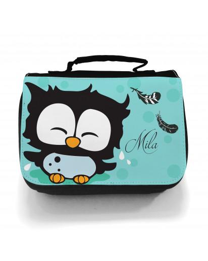 Waschtasche Kosmetiktasche Eulchen mit Federn Punkten und Wunschname toilet bag owl with feathers dots and desired name wt009