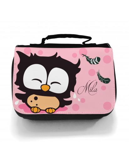 Waschtasche Kosmetiktasche Eulchen mit Federn Punkten und Wunschname toilet bag owl with feathers dots and desired name wt010