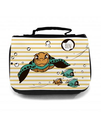 Waschtasche Schildkröte mit Fischen Wunschname toilet bag turlte with fish desired name wt017
