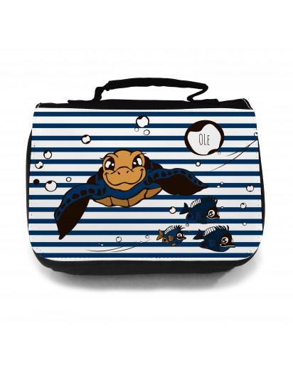 Waschtasche Kosmetiktasche Schildkröte mit Fischen Wunschname toilet bag turlte with fish desired name wt019