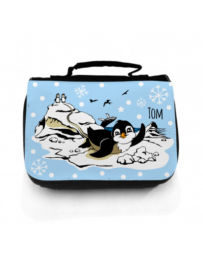 Hauptbild Waschtasche Pinguine auf Eisscholle mit Schneeflocken und Wunschname toilet bag penguins on ice floe with snowflakes and desired name wt050