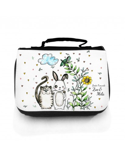 Waschtasche Waschbeutel Kulturbeutel Kosmetiktasche Reisewaschtasche 2-er Set Hase und Katze mit Wunschnamen wt107S Washbag toilet bag sponge bag cosmetics bag travel washbag Set of 2 rabbit and cat with desirable name wt107S