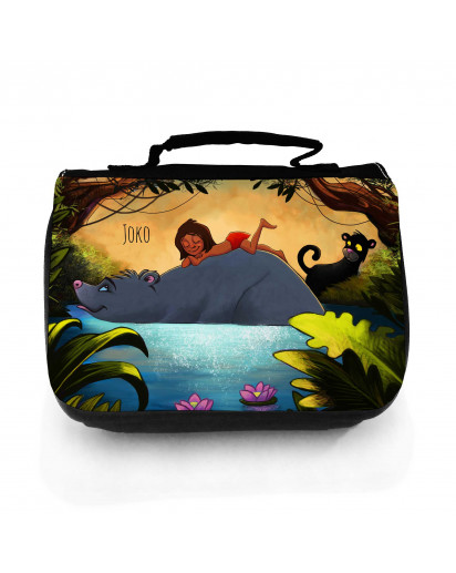 Waschtasche Waschbeutel Kulturbeutel Kosmetiktasche Reisewaschtasche Dschungeltiere mit Junge Bär Puma und Wunschnamen washbag toilet bag sponge bag cosmetics bag travel washbag jungle animals with boy bear cougar and custom name wt120