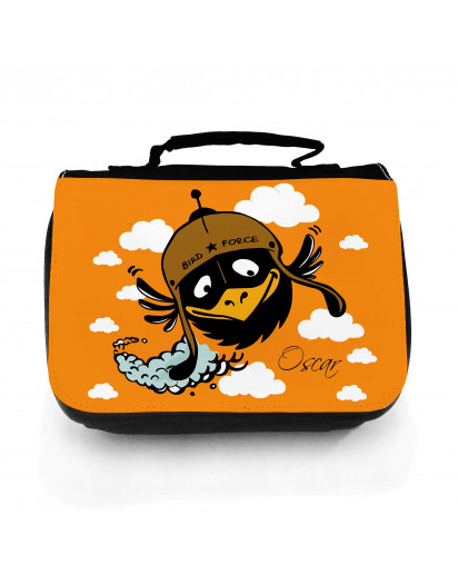 Waschtasche Waschbeutel Kulturbeutel Kosmetiktasche Reisewaschtasche Vogel Rabe Bird Force mit Wunschnamen washbag toilet bag sponge bag cosmetics bag travel washbag bird raven bird force with custom name wt123