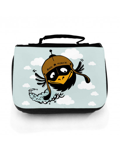 Waschtasche Waschbeutel Kulturbeutel Kosmetiktasche Reisewaschtasche Vogel Rabe Bird Force mit Wunschnamen washbag toilet bag sponge bag cosmetics bag travel washbag bird raven bird force with custom name wt124