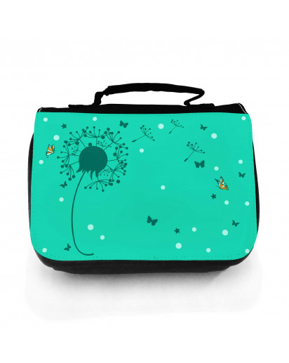 Waschtasche Waschbeutel Kulturbeutel Kosmetiktasche Reisewaschtasche Pusteblume mit Schmetterlingen washbag toilet bag sponge bag cosmetics bag travel washbag dandelion with butterflies wt126
