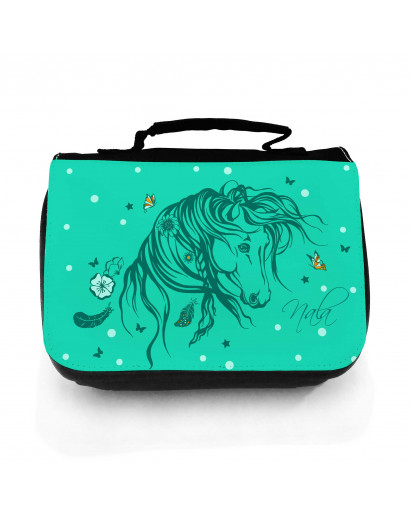 Waschtasche Waschbeutel Kulturbeutel Kosmetiktasche Reisewaschtasche Pferd Wildpferd mit Blumen Federn Sternen Schmetterlingen und Wunschnamen washbag toilet bag sponge bag cosmetics bag travel washbag horse wild horse with butterflies feathers flowers st