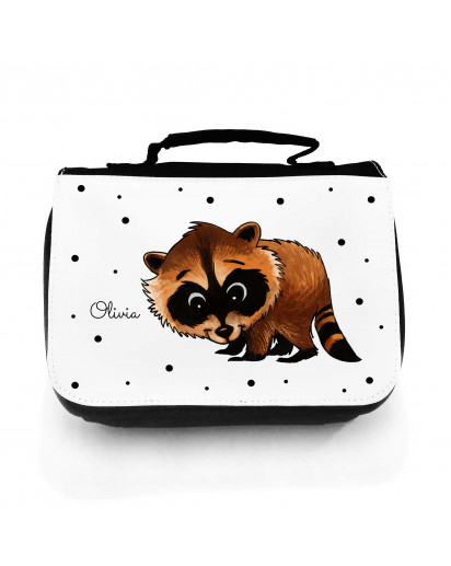 Waschtasche Waschbeutel Kulturbeutel Kosmetiktasche Reisewaschtasche Waschbär mit Punkten und Wunschnamen washbag toilet bag sponge bag cosmetics bag travel washbag raccoon with dots and desired name wt132