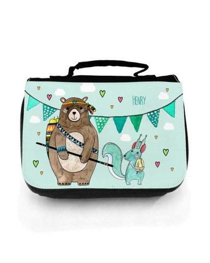Waschtasche Waschbeutel Kulturbeutel Kosmetiktasche Reisewaschtasche Boho Bär mit Eichhörnchen und Wunschnamen washbag toilet bag sponge bag cosmetics bag travel washbag boho bear with squirrel and custom name wt137