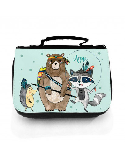 Waschtasche Waschbeutel Kulturbeutel Kosmetiktasche Reisewaschtasche Boho Bär mit Waschbär Igel und Wunschnamen washbag toilet bag sponge bag cosmetics bag travel washbag boho bear with raccoon hedgehog and custom name wt148