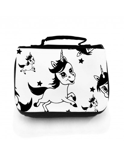 Waschtasche Waschbeutel Kulturbeutel Kosmetiktasche Reisewaschtasche Einhörner und Sterne schwarz weiß Washbag toilet bag sponge bag cosmetics bag travel washbag unicorns and stars black white wt151