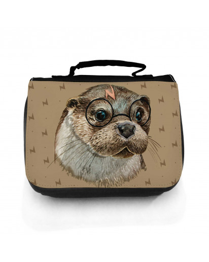 Waschtasche Waschbeutel Kulturbeutel Kosmetiktasche Reisewaschtasche Harry Otter mit Brille Washbag toilet bag sponge bag cosmetics bag travel washbag Harry Otter with glasses wt152