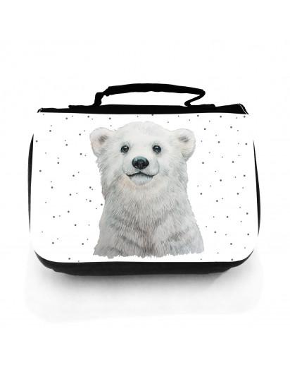 Waschtasche Waschbeutel mit Eisbär Polarbär & Punkte Kulturbeutel Kosmetiktasche Reisewaschtasche individuell Motiv Tier wt208
