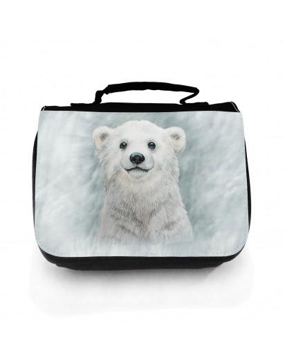 Waschtasche Waschbeutel mit Eisbär Polarbär im Schneesturm Kulturbeutel Kosmetiktasche Reisewaschtasche individuell Motiv Tier wt209