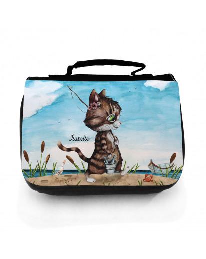 Waschtasche Waschbeutel Katze Kätzchen Angelkatze Angel Kulturbeutel Kosmetiktasche Reisewaschtasche individuellem Wunschnamen wt221