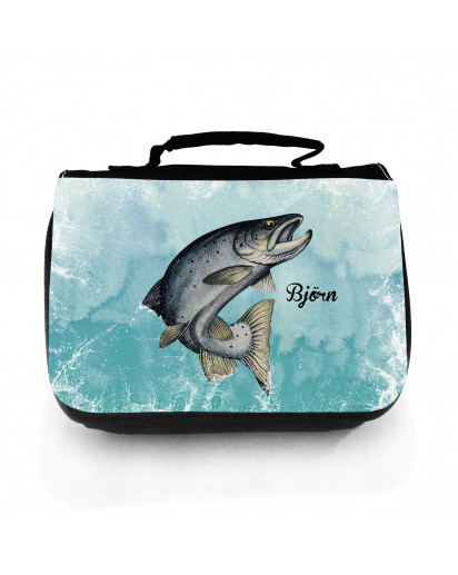 Waschtasche Waschbeutel Meerforelle Lachsforelle Fisch Kulturbeutel Kosmetiktasche Reisewaschtasche individuellem Wunschnamen wt222