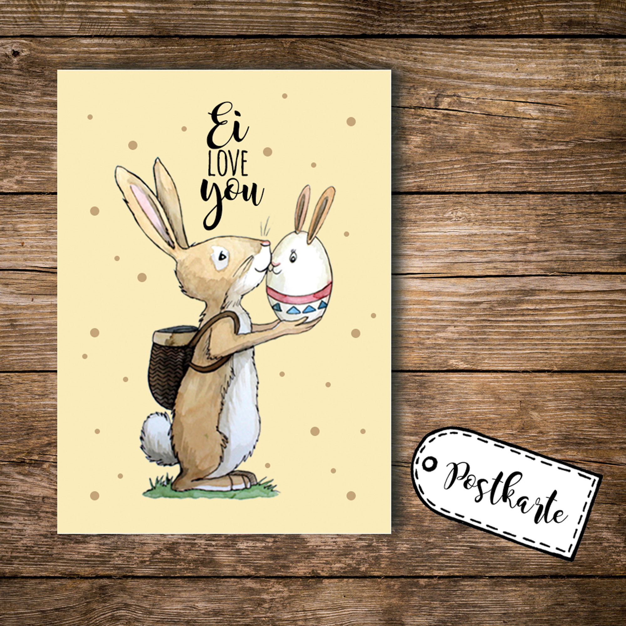 a6 postkarte osterkarte print hase osterhase mit spruch ei