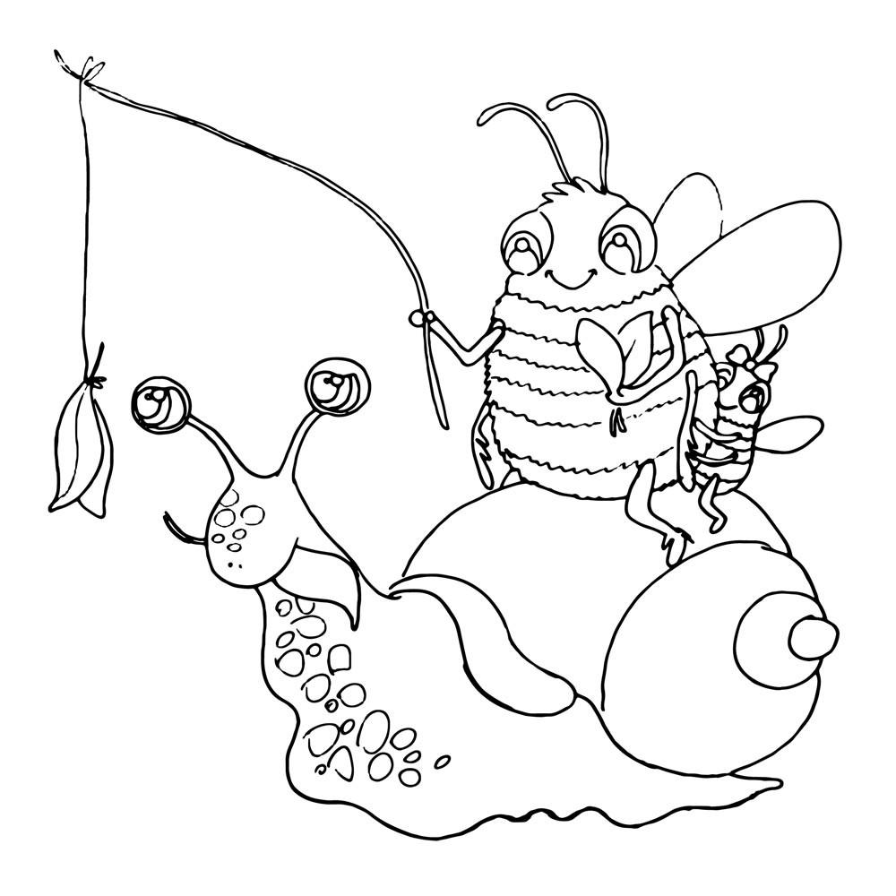 Ausmalbild Biene mit Schnecke Druck AU18 ~ Wandtattoos Elfentür, Tassen