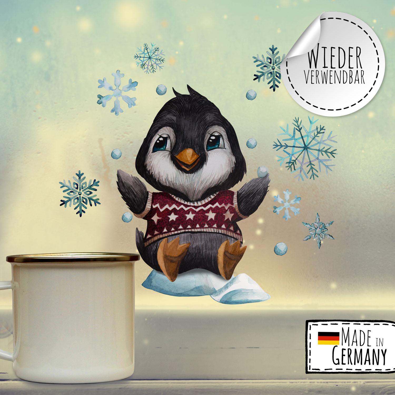 fensterbild weihnachtsdeko weihnachten pinguin