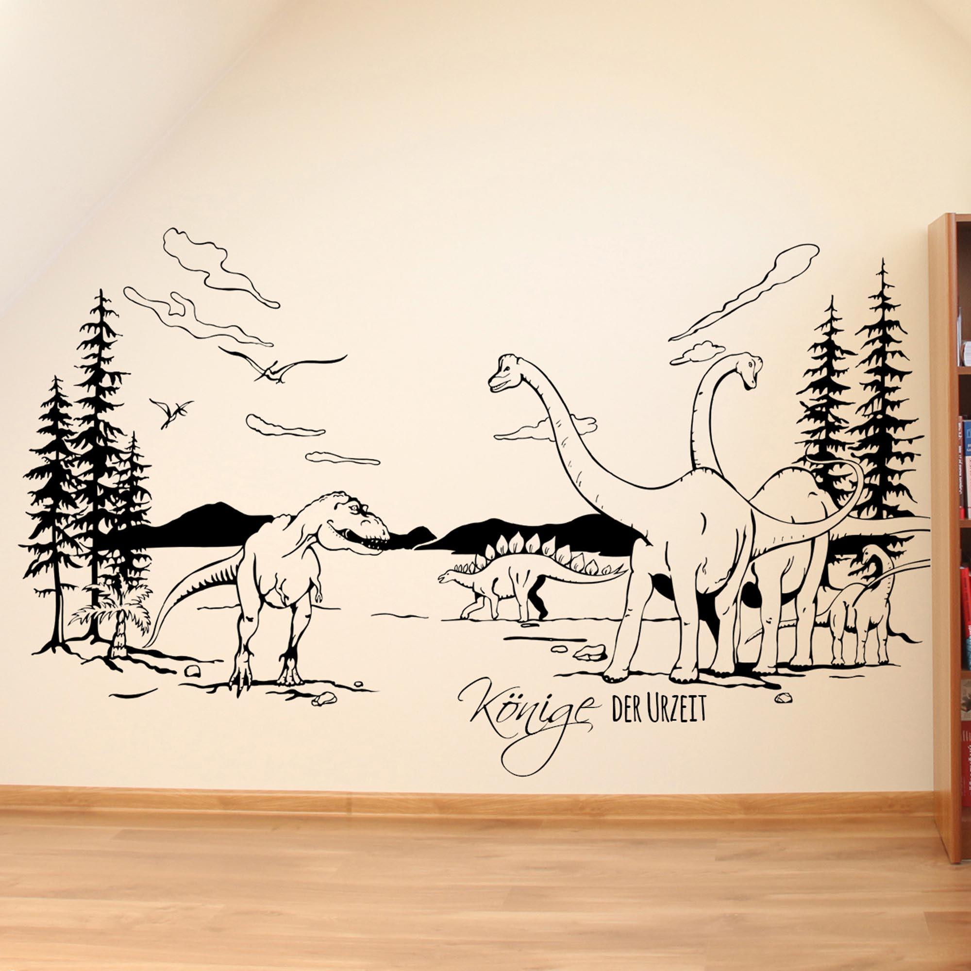 Wandtattoo dinosaurier t rex landschaft mit spruch k nige - Wandtattoos dinosaurier ...