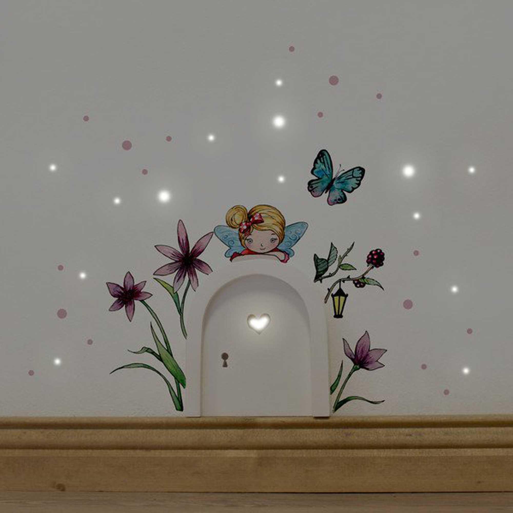 Elfentür Feentür Wichteltür Koboldtür Mit Wandtattoo Wandaufkleber  Wandsticker Aufkleber Sticker Kleine Elfe Fee Mit Blumen Schmetterling