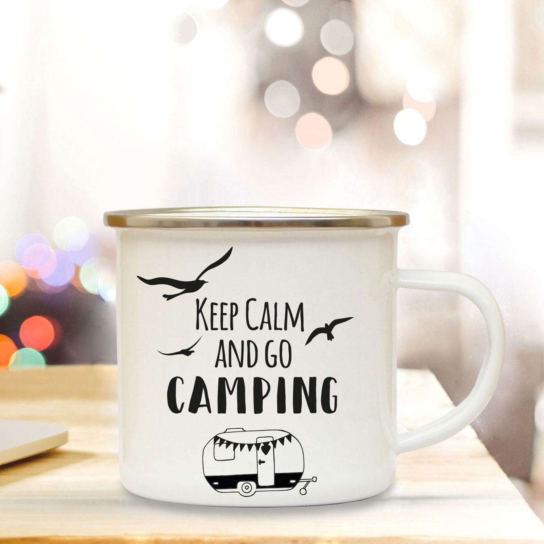 Emaille Becher Camping Tasse Wohnwagen Camper Spruch Motto