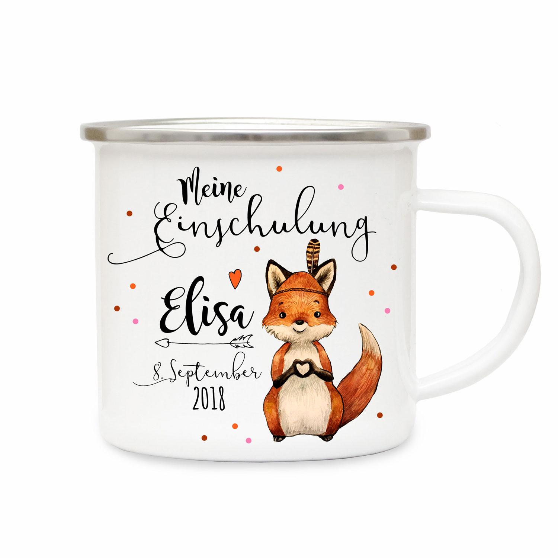 Emaille Becher Camping Tasse Fuchs Spruch Meine Einschulung