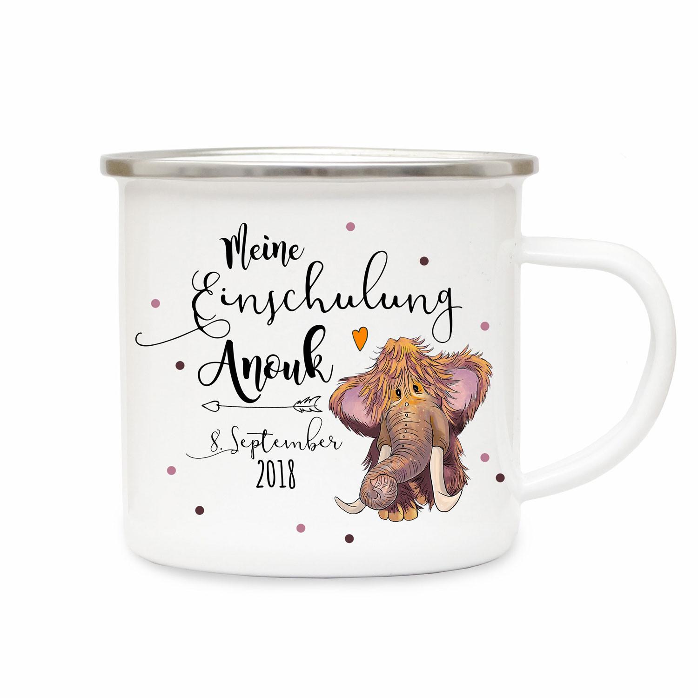 Emaille Becher Camping Tasse Kleines Mammut Spruch Meine Einschulung Kaffeetasse Geschenk Mit Name Wunschname Datum Eb195 Wandtattoos Elfentur Tassen