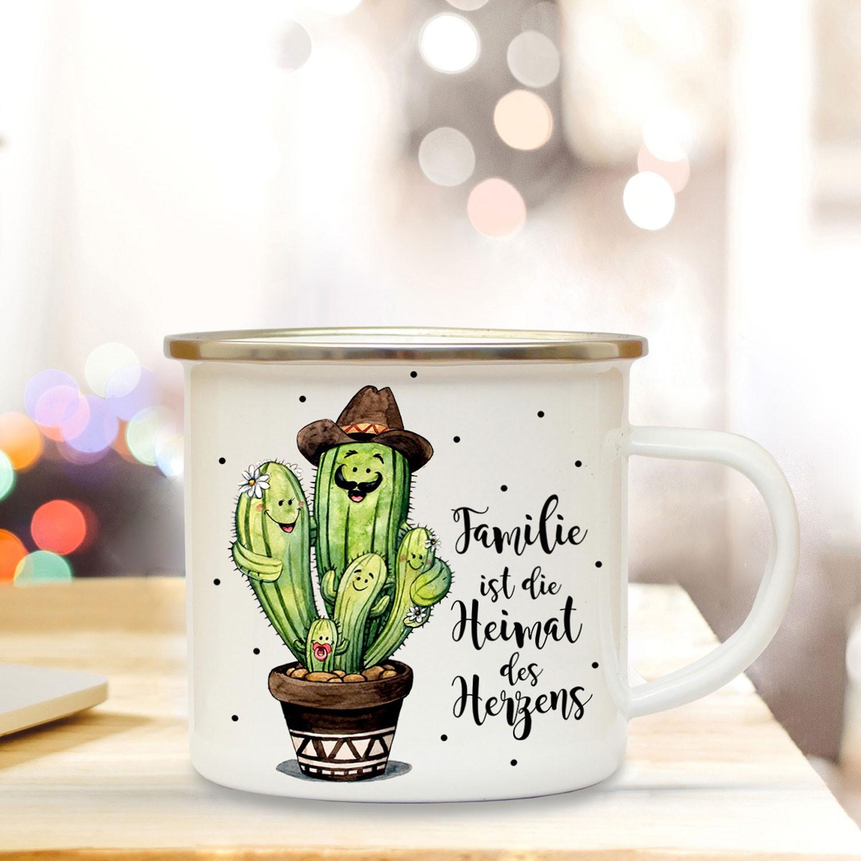 emaille becher camping tasse mit kaktus kakteen spruch familie ist heimat des herzens. Black Bedroom Furniture Sets. Home Design Ideas
