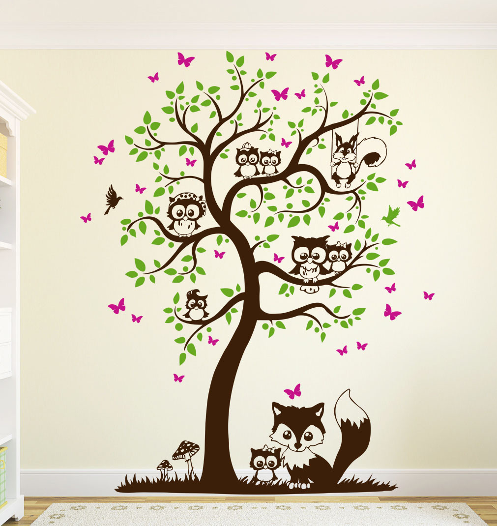wandtattoo baum mit eulen eichh rnchen fuchs und. Black Bedroom Furniture Sets. Home Design Ideas