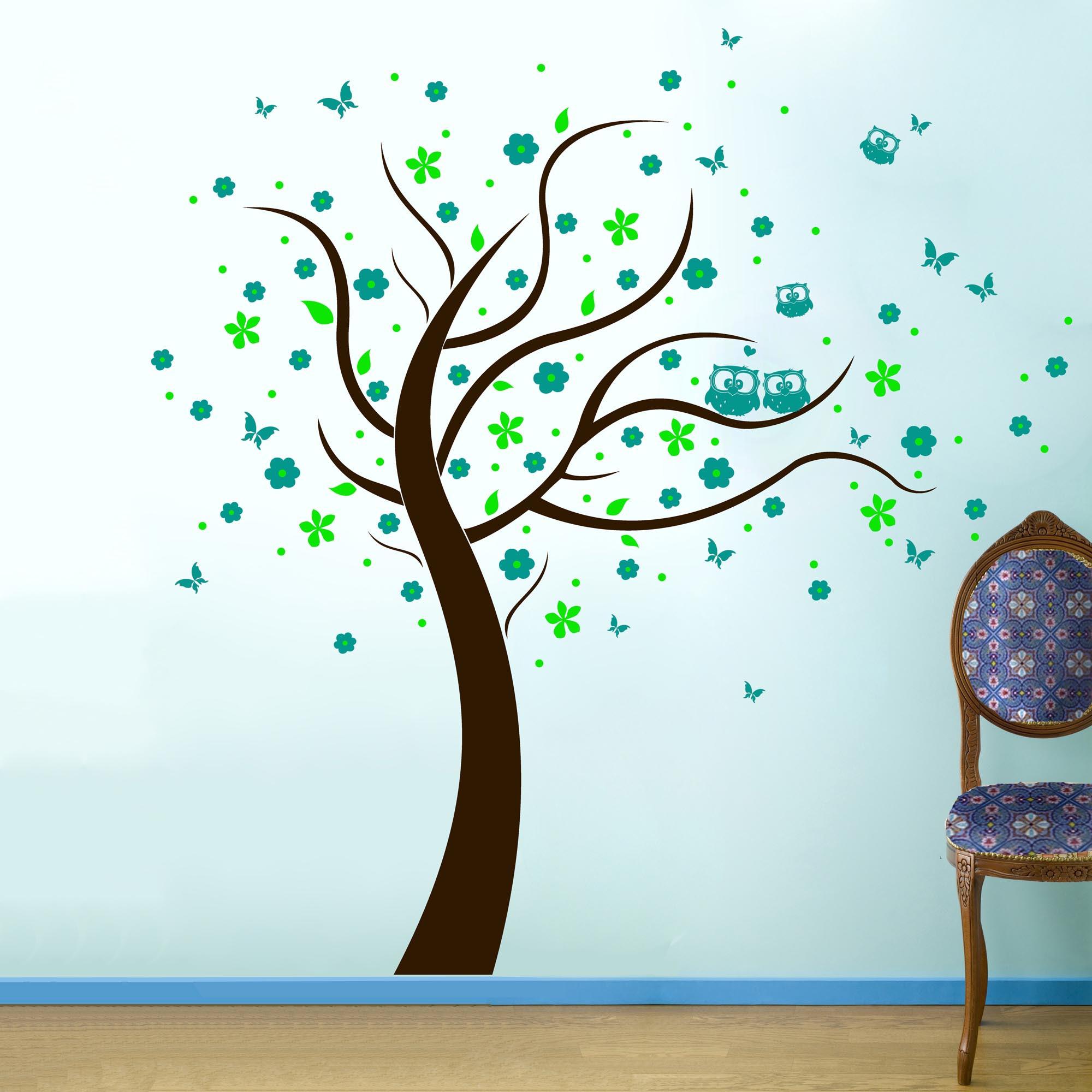 Wandtattoo Eulenbaum Baum Mit Eulen Bluten Punkten Und