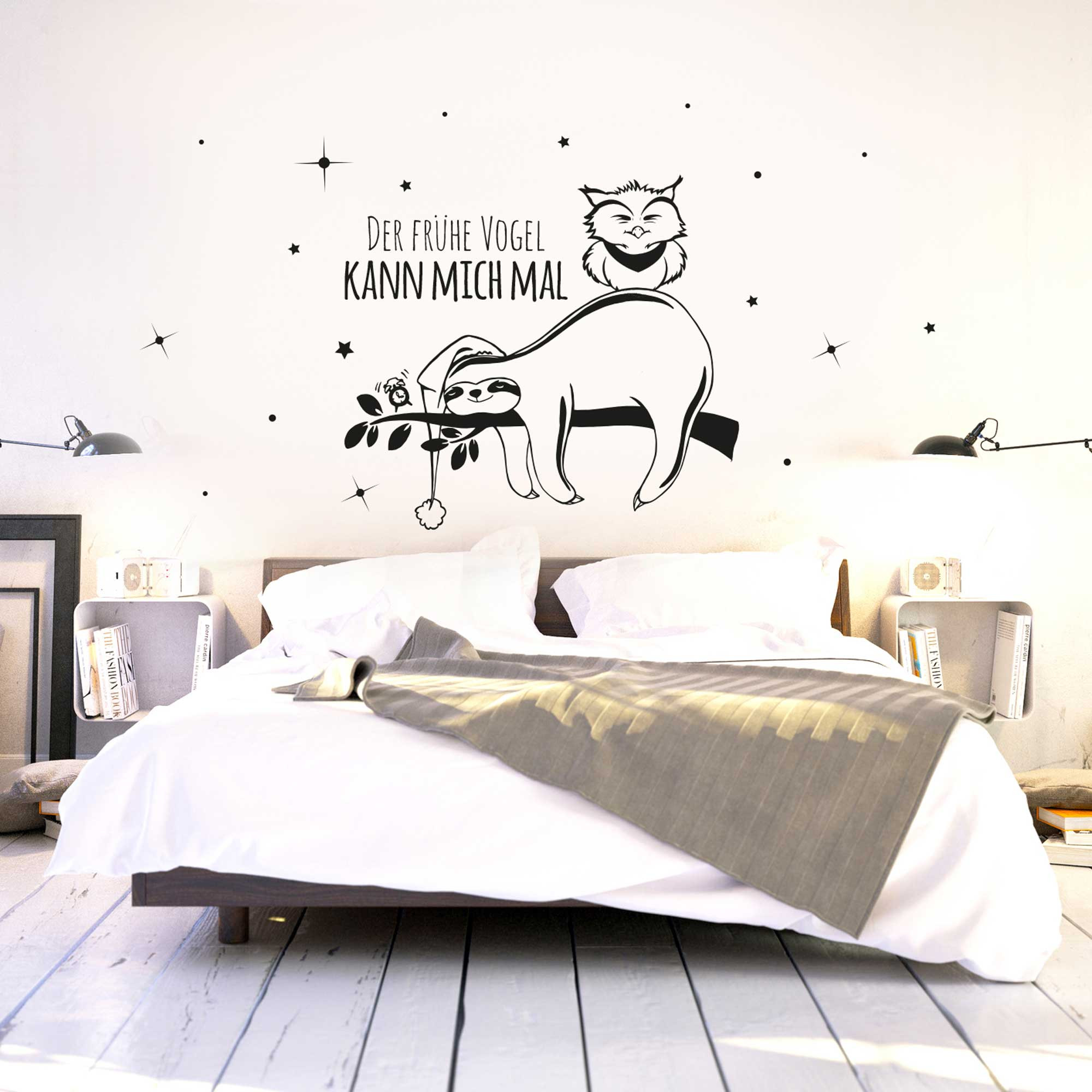 wandtattoo faultier und eule mit spruch der fr he vogel. Black Bedroom Furniture Sets. Home Design Ideas