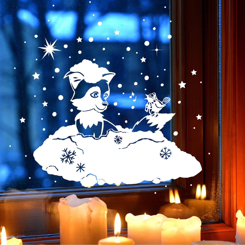 Fensterbild fensterdeko winterbild winter fuchs vogel - Fensterdeko winter ...