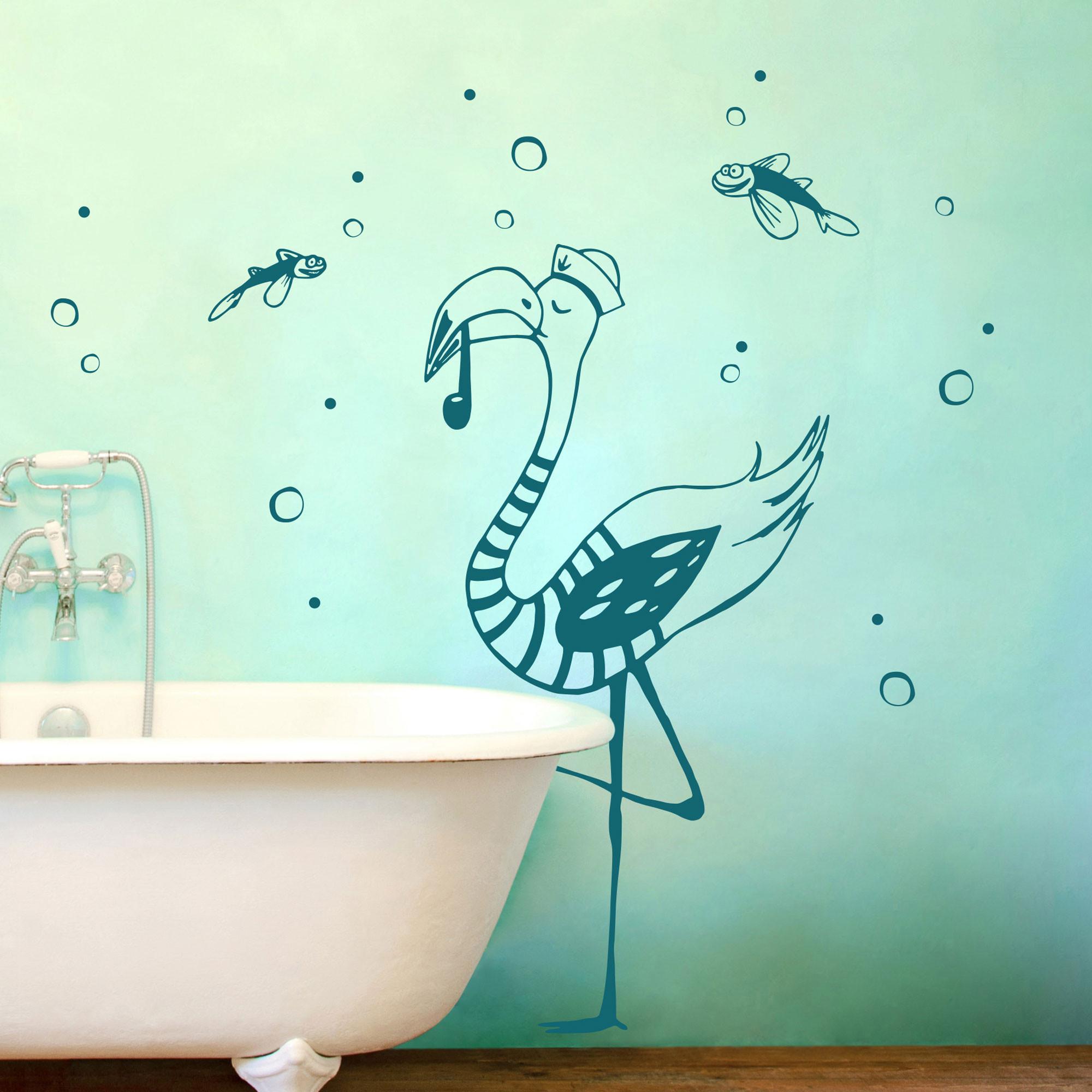 Wandtattoo kapit n flamingo mit seifenblasen und - Flamingo wandtattoo ...