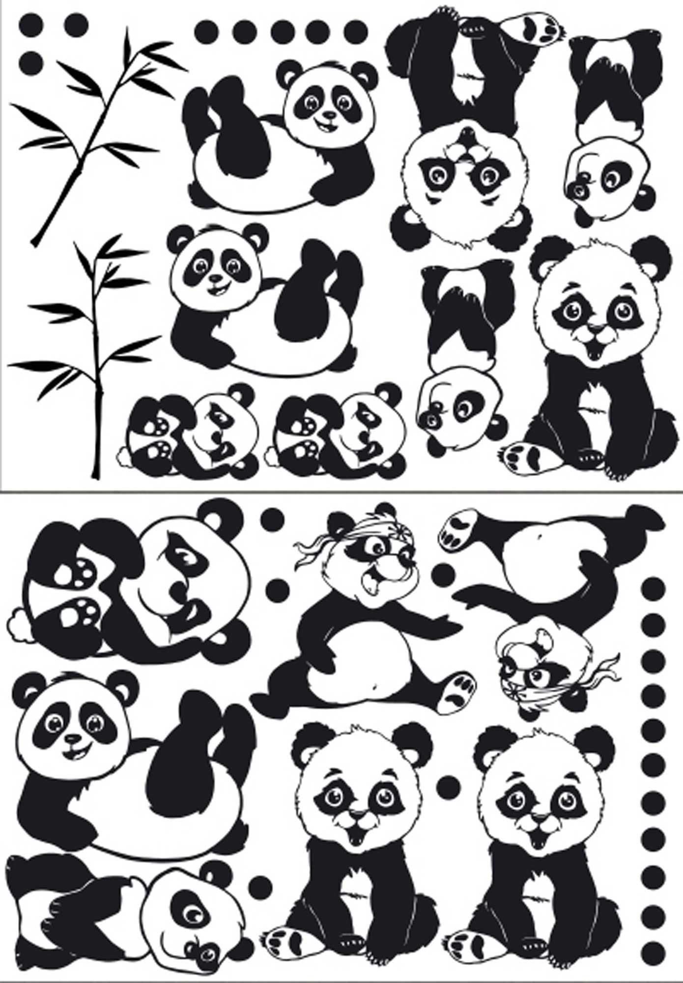 aufkleber sticker glassticker partyaufkleber pandas mit. Black Bedroom Furniture Sets. Home Design Ideas