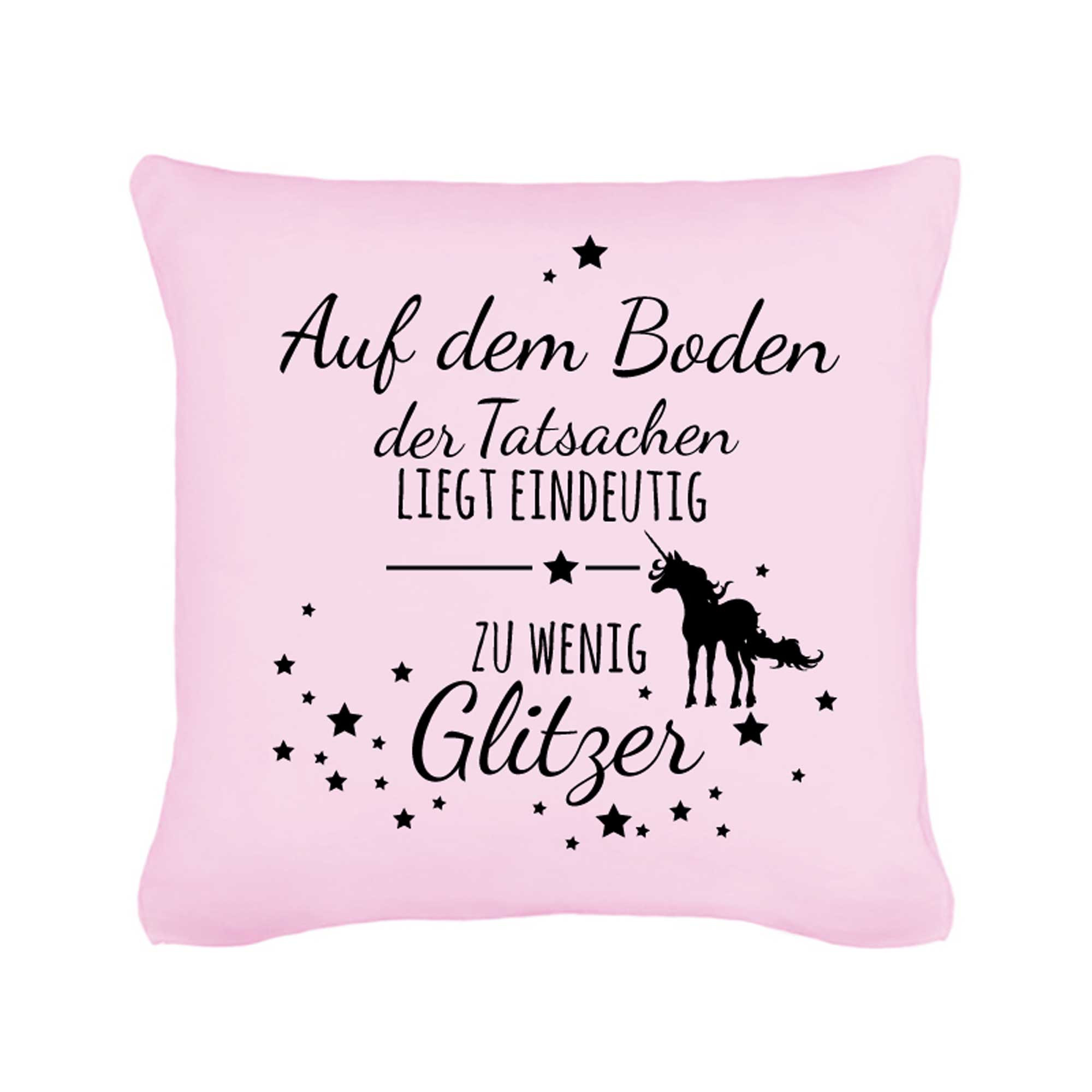 kissen mit einhorn spruch sternen glitzer inklusive. Black Bedroom Furniture Sets. Home Design Ideas