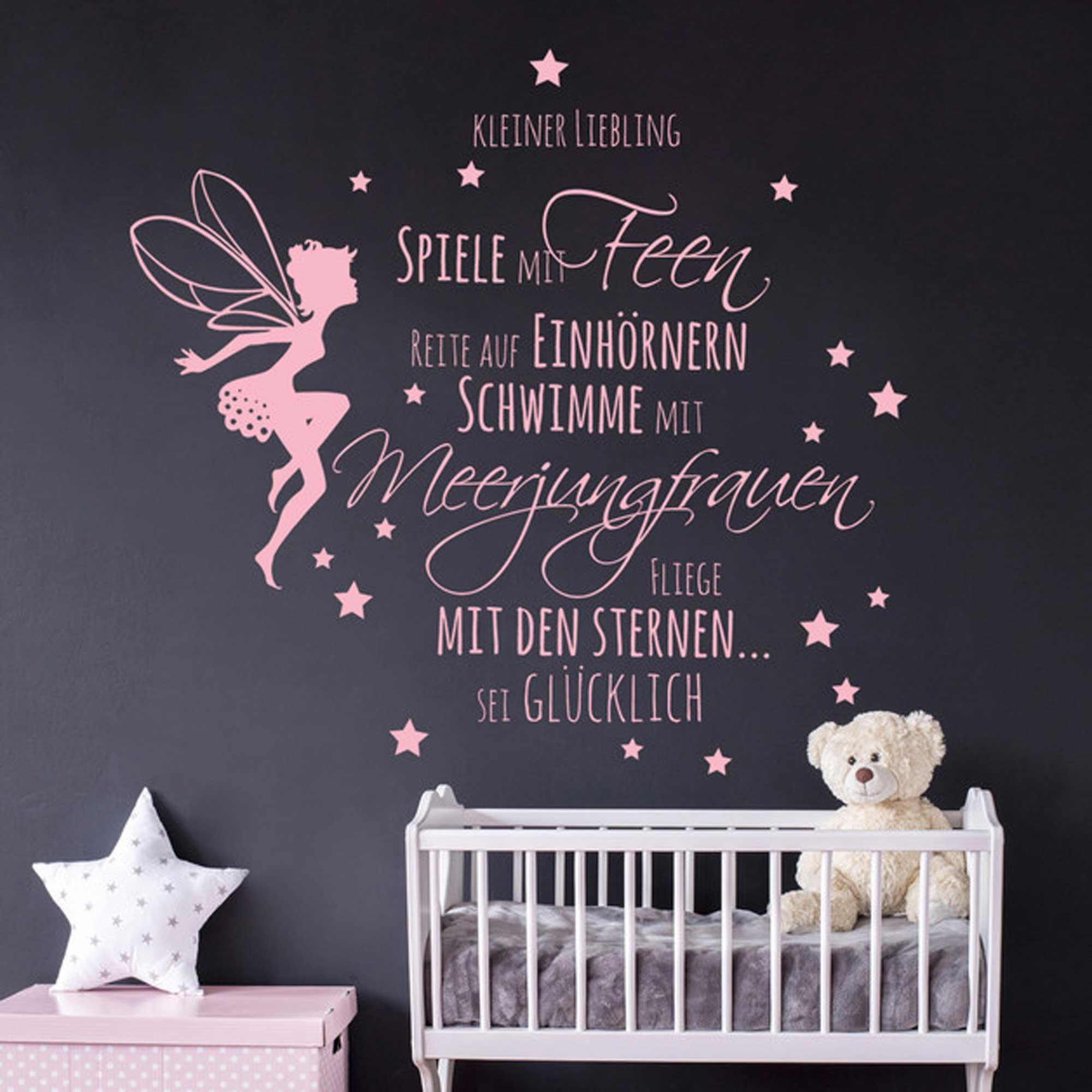 Wandtattoo Zitat Spruch kleiner Liebling... mit Fee und Sternen ...