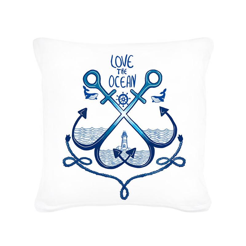 kissen dekokissen maritim mit anker leuchtturm und spruch love the ocean inklusive f llung ks105. Black Bedroom Furniture Sets. Home Design Ideas