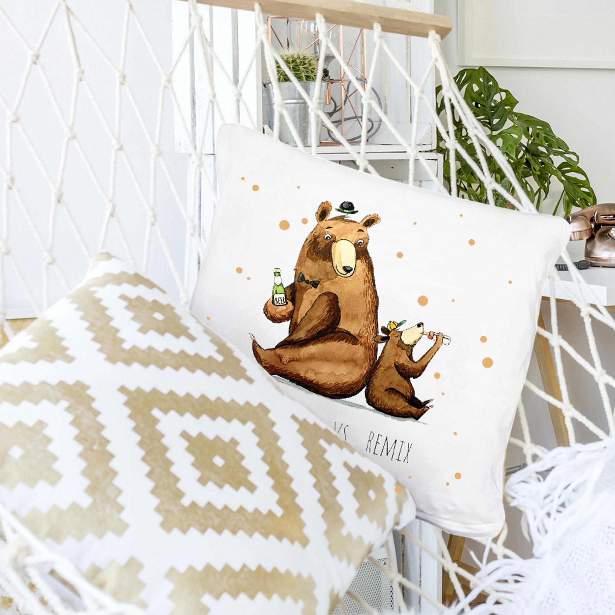 kissen dekokissen vatertag kissen dekokissen vatertag mit b r b rchen punkten und spruch. Black Bedroom Furniture Sets. Home Design Ideas