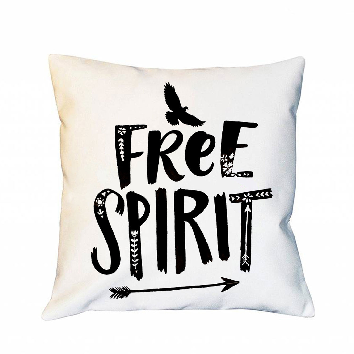 kissen mit vogel spruch dekokissen motto free spirit motivkissen zierkissen spruchkissen. Black Bedroom Furniture Sets. Home Design Ideas